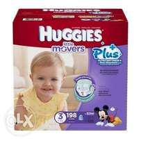 Huggies little movers Size 3 diapers