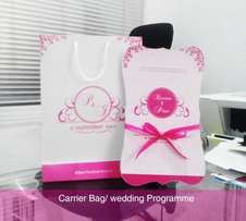 wedding programme / carrier bag