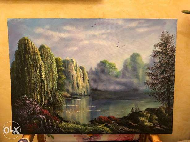 """Landscape """"Weeping Willows"""" Painting (Canvas Wall Art )"""