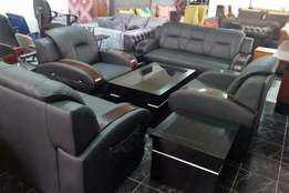 Black leather sofa and center table