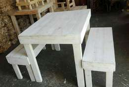 6 Seater table and 2 benches for sale