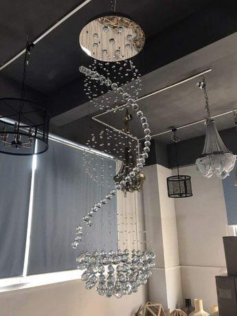 żyrandol Kryształowy 180 Cm Kule Led Lampa Hol Schody Klatka