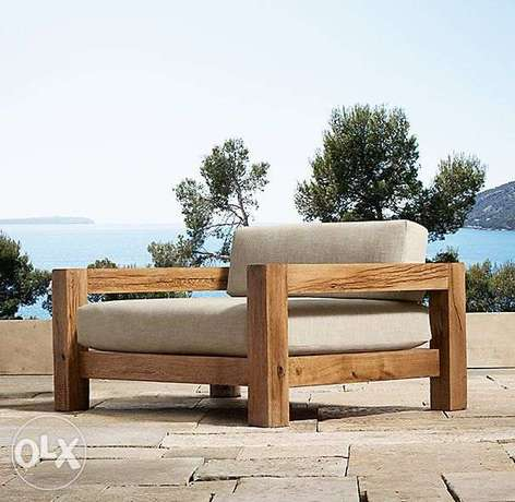 Outdore wooden garden 2 sofa large and small صوفا خشب كبيرة وصغيرة