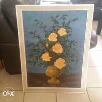 Oil painting of yellow roses
