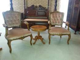 2 x light pink Antique Victorian chairs for sale