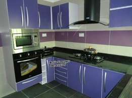 Fitted purple kitchen cabinet