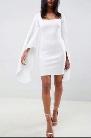 Biała sukienka mini z ozdobnymi rękawami z Asos Jastrzębie