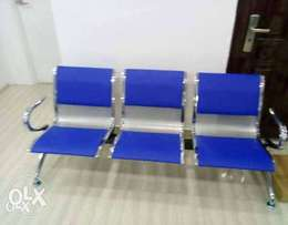 3in1 Blue Reception Leather Office Chair