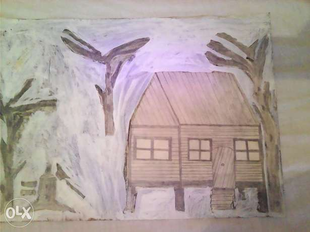old pencil art with paint a wooden cabin Bluff - image 1