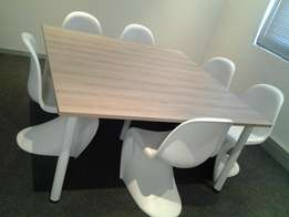 Square Table with 6 modern white chairs