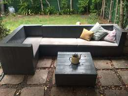 Wooden Outdoor L-Shaped Couch Unit with custom washable cushions