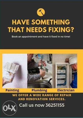 We are specialists in plumbing, electrical, painting, gypsum,cleaning