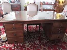 Mahogany desk with glass top