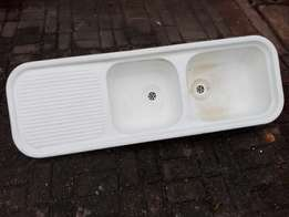 Double fiberglass sink for sale.