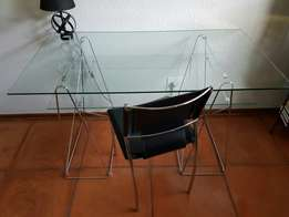 Modern glass desk and chair