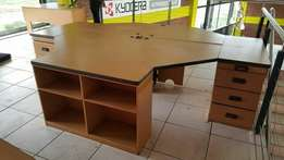Oak Cluster Desk with Drawers
