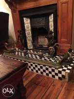 Antique very old Brass fire surround rare
