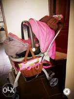 Baby pram(set of pram,car seat &2 diaper bag)
