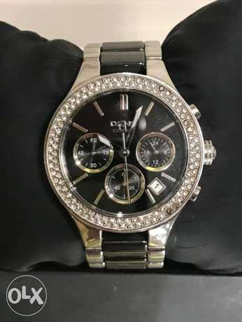 DKNY Black Dial Chronograph Steel and Ceramic Ladies Watch