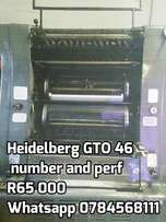 Heidelberg GTO 46 number and perf