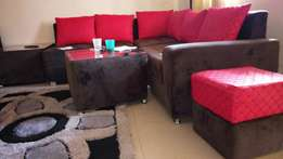 Red and coffee brown silver stands double velvet Sofa set