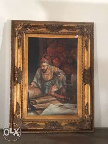 solid wood frame with oil paint picture