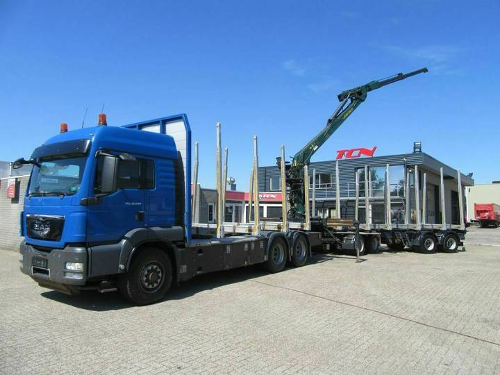 MAN TGS 6X6 EURO 5 + CRANE AND 4 AXLE TRAILER - 2012