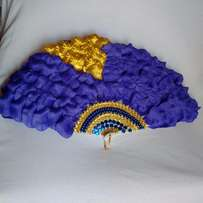"Brides n Queens ""Psychedelic"" BlueViolet Petals Bridal Hand-fan"