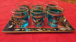 Shabbat Glass Wine Cup Set with Tray and Six Cups