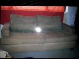 3 seater light beilge fabric couch