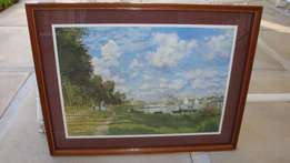 Pictures - both wooden frame - one with old harbour scene & the other
