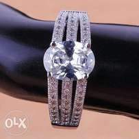 Silver Stainless Steel Oval Halo Diamond Engagement Ring ER-003