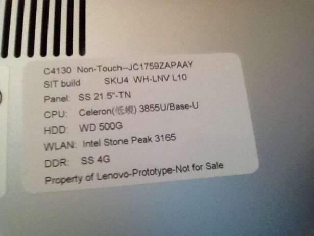 3 weeks old Lenovo C4130 All in One non touch Witkoppen - image 3