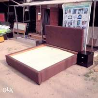6 by 6 bed frame with. Fabric covered