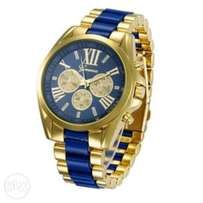 Geneva Gold/Blue chain watch.