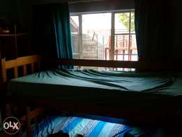 Wooden pine single bed and mattress