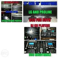 DJ CD players , Monitors and Printers