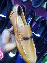 Brown leather loafers shoe