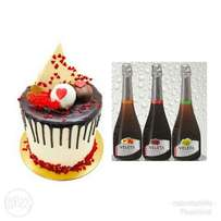 """6"""" Redvelvet and chocolate cake with a bottle of wine"""