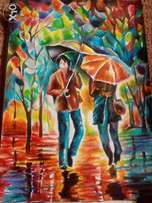 Impressionism.Encounter in the rain.