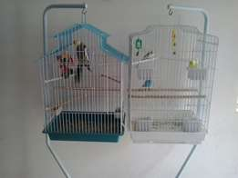 Birds + cage with stand