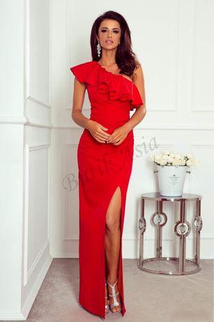e2bbbeeac0c Sukienka Maya czerwona maxi długa falbana jedno ramię 40/L nowa ...