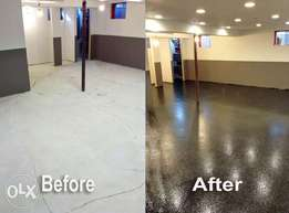Glazed metallic epoxy floor