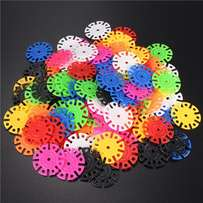 100Pcs Child Kids Plastic Multi-Color Snowflake Building Blocks Educat