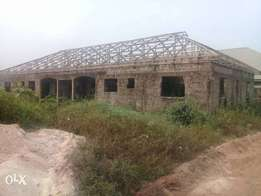 An Uncompleted 3bedrooms 2blocks of flat,at Sapele road,Benin-City.