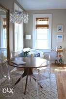 Modern Dining Table with Acrylic Chairs