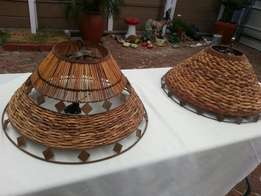 2 Large bushman bamboo ceiling lights.