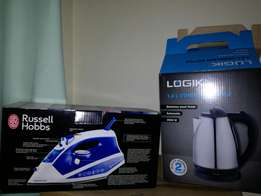 Russell Hobbs iron and Logik kettle