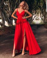34318b4dab16e2 Sukienka długa czerwona nowa hit maxi 34,38,40 Nina Emo dekolt wesele