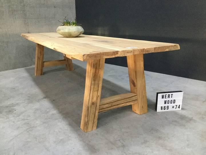 Unieke Rustieke Oud Eiken tafel 300x100x5cm met Oud Eik...